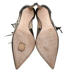 Jimmy Choo Black Leather and Suede Dixon Cut Out Pointed Toe Pumps Size 38