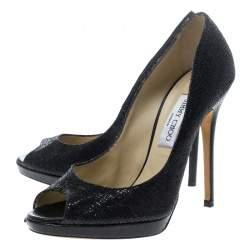 Jimmy Choo Black Glitter Fabric Luna Peep Toe Platform Pumps Size 39.5