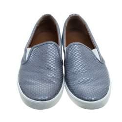 Jimmy Choo Metallic Grey Python Embossed Leather Demi Slip-On Sneakers Size 39