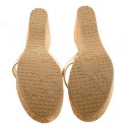 Jimmy Choo Beige Patent Leather Pathos Thong Cork Wedge Slides 41