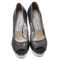 Jimmy Choo Metallic Silver Lace Dahlia Peep Toe Platform Pumps Size 37