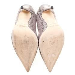 Jimmy Choo Light Grey Elaphe Leather Anouk Pointed Toe Pumps Size 37
