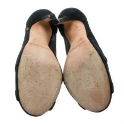 Jimmy Choo Black Mesh And Suede Marble Peep Toe Booties Size 36.5