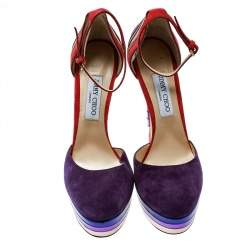 Jimmy Choo Purple Suede and Metallic Leather Macy Ankle Strap Platform Sandals Size 40