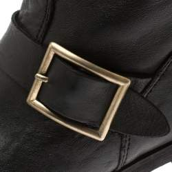 Jimmy Choo Black Leather Youth Biker Mid Calf Boots Size 37.5