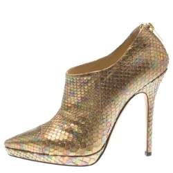 Jimmy Choo Metallic Gold Rainbow Python Leather George Pointed Toe Ankle Booties Size 36.5