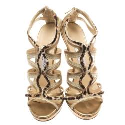 Jimmy Choo Coarse Glitter Leather And Calf Hair Trim Mercury Cage Open Toe Sandals Size 38