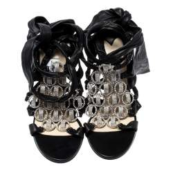 Jimmy Choo Black Leather Marine Crystal Embellished Tie Up Sandals Size 39
