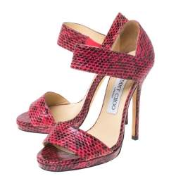 Jimmy Choo Two Tone Python Leather Ankle Strap Sandals Size 36
