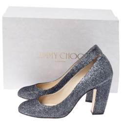 Jimmy Choo Metallic Grey Glitter Billie Pumps Size 38