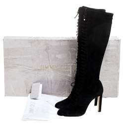 Jimmy Choo Black Suede Lace Up Desiree Knee Boots Size 39