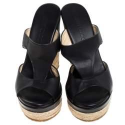 Jimmy Choo Black Cut Out Leather Pledge Espadrille Wedge Platform Sandals Size 39.5