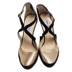 Jimmy Choo Black Suede And Gold Glitter Fabric Round Toe Ankle Strap Platform Pumps Size 40