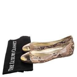 Jimmy Choo Beige/Gold Snake Embossed Leather Cap Toe Ballet Flats Size 36