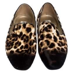 """حذاء سليبرز جيمي تشو """"ويل سموكينغ"""" فرو عجل نشة الفهد بني مقاس 36"""