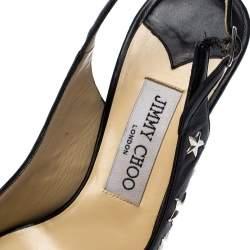 Jimmy Choo Black Star Studded Leather Peep Toe Platform Slingback Sandals Size 38