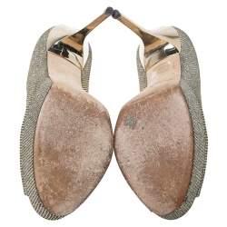 Jimmy Choo Metallic Gold Lame Fabric Dahlia Peep Toe Platform Pumps Size 38
