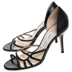 Jimmy Choo Black Python Leather And Glitter Suede Straits Strappy Sandals Size 37