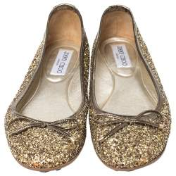 Jimmy Choo Gold Coarse Glitter Fabric Walsh Bow Ballet Flats Size 37.5