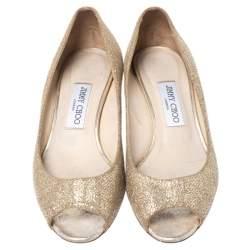 Jimmy Choo Gold Glitter Fabric Bergen Peep Toe Wedges Size 40