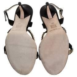 Jimmy Choo Black Satin Crystal Embellished Slingback Open Toe Sandals Size 38