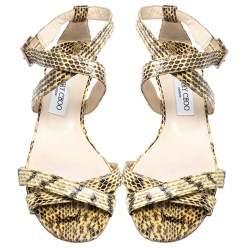 Jimmy Choo Beige Python Connor Wedge Sandals Size 41