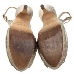 Jimmy Choo Metallic Gold Embossed Leather Vita Peep Toe Platform Slingback Sandals Size 37