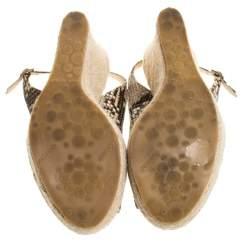 Jimmy Choo Multicolor Python Embossed Leather Polar Espadrille Wedge Slingback Sandals Size 38.5