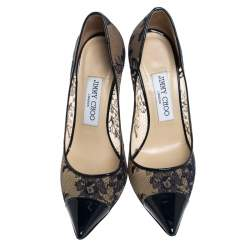 Jimmy Choo Blue Lace and Patent Leather Amika Cap Toe Pointed Pumps Size 36