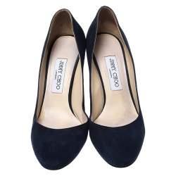 Jimmy Choo Blue Suede Round Toe Bridget Pumps Size 38