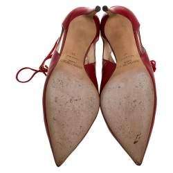 Jimmy Choo Red Suede and Leather Cut Out Pointed Toe Booties Size 39