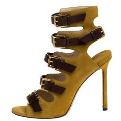 Jimmy Choo Yellow/Brown Suede And Leather Trick Caged Sandals Size 37.5