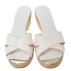 Jimmy Choo White Snakeskin Panna Cork Slides Size 40