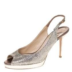 Jimmy Choo Metallic Gold Glitter Nova Peep Toe Platform Slingback Sandals Size 40