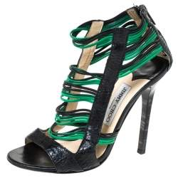 Jimmy Choo Black/Green Python And Leather Corsica Sandals Size 37