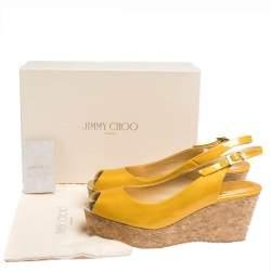 Jimmy Choo Mustard Yellow Patent Praise Cork Slingback Wedges Size 41