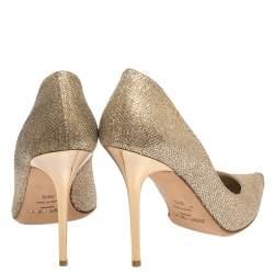 Jimmy Choo Metallic Gold Lamè Glitter Abel Pointed Toe Pumps Size 38.5
