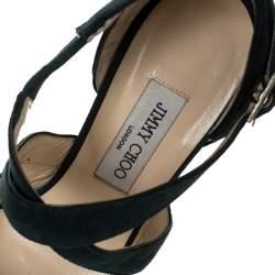 Jimmy Choo Green Suede Leather Cross Strap Platform Sandals Size 38.5