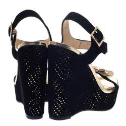 Jimmy Choo Black/Gold Suede And Leather Nice Wedge Platform Sandals Size 36