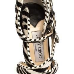 Jimmy Choo Monochrome Zebra Print Pony Hair And Leather Trim Maddox Sandals Size 37.5