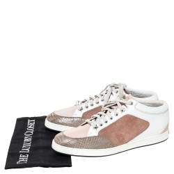 Jimmy Choo Tricolor Suede Leather And Python Trim Miami Low Top Sneakers Size 40.5