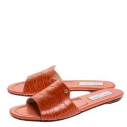 Jimmy Choo Dark Orange Croc Embossed Leather Nanda Flat Slides Size 38
