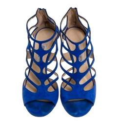 Jimmy Choo Blue Suede Ren Caged Sandals Size 39.5