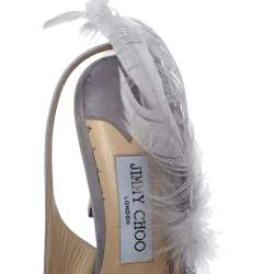 Jimmy Choo Lilac Suede Feather And Crystal Embellished Tacey Slingback Pumps Size 38