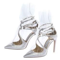 Jimmy Choo X OFF-WHITE Pearl White/Clear Satin and TPU Claire Pointed Toe Pumps Size 38
