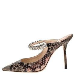 Jimmy Choo Brown/Beige Python Leather Bing 65 Crystal Embellished Pointed Toe Mules Size 38
