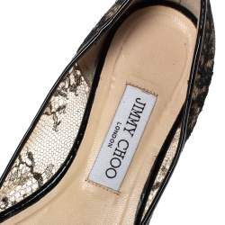 Jimmy Choo Black Mesh and Lace Romy Pointed Ballerina Size 38