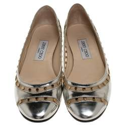 Jimmy Choo Metallic Silver Leather and Mesh Studded Wes Ballet Flats Size 38