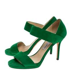 Jimmy Choo Green Suede Leather Open Toe Sandals Size 38.5