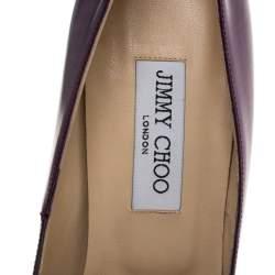 Jimmy Choo Metallic Purple Leather Abel Pointed Toe Pumps Size 40